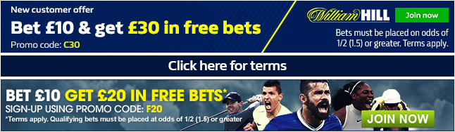 FIND THE LATEST PREMIER LEAGUE ODDS AND MUCH MORE AT WILLIAM HILL